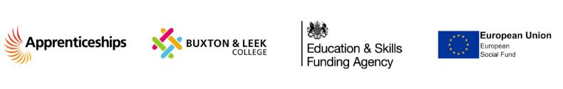 Logos for Apprenticeships, Buxton and Leek College, Education and Skills Funding Agency, and European Union European Social Fund