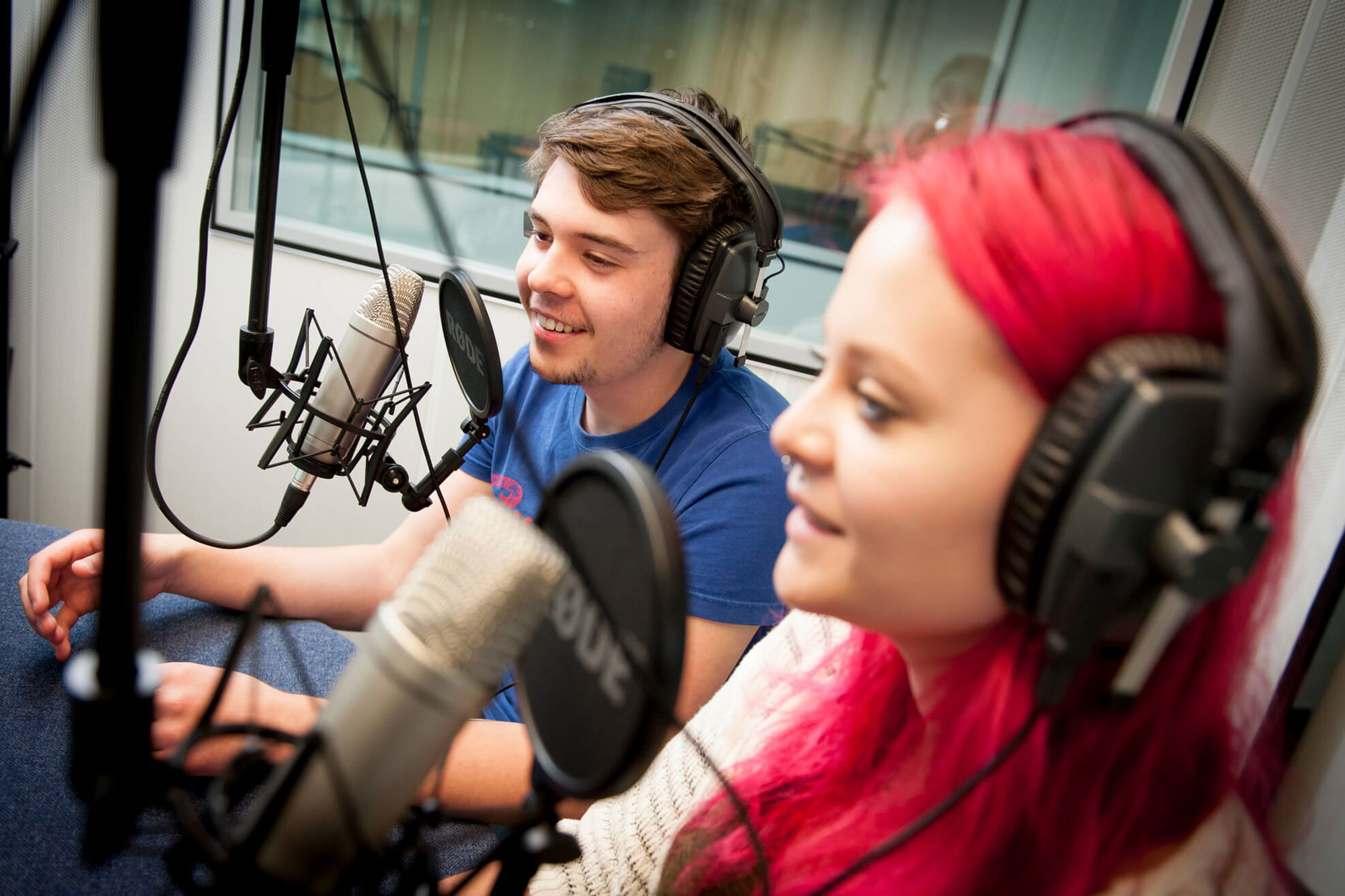 Media Production students work in the Recording Studio
