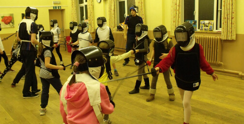 Girl Guides and Brownies fencing