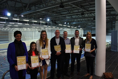 Derby sport award winners holding their certificates