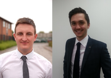 Marketing graduates Samuel Eacott and Dan Holdsworth.
