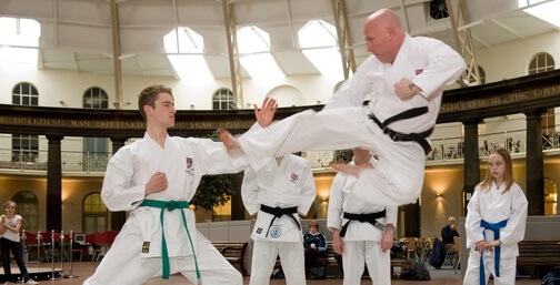 Charles Spring performing martial arts