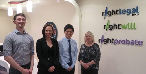 Law students with representatives from Derby law firm Right Legal