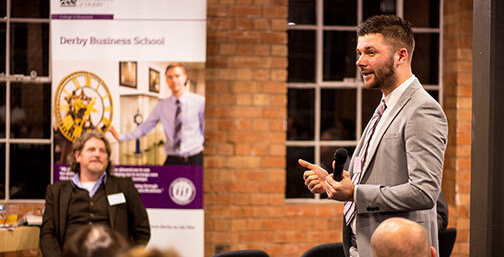 Entrepreneur gives a speech at Derby Network event