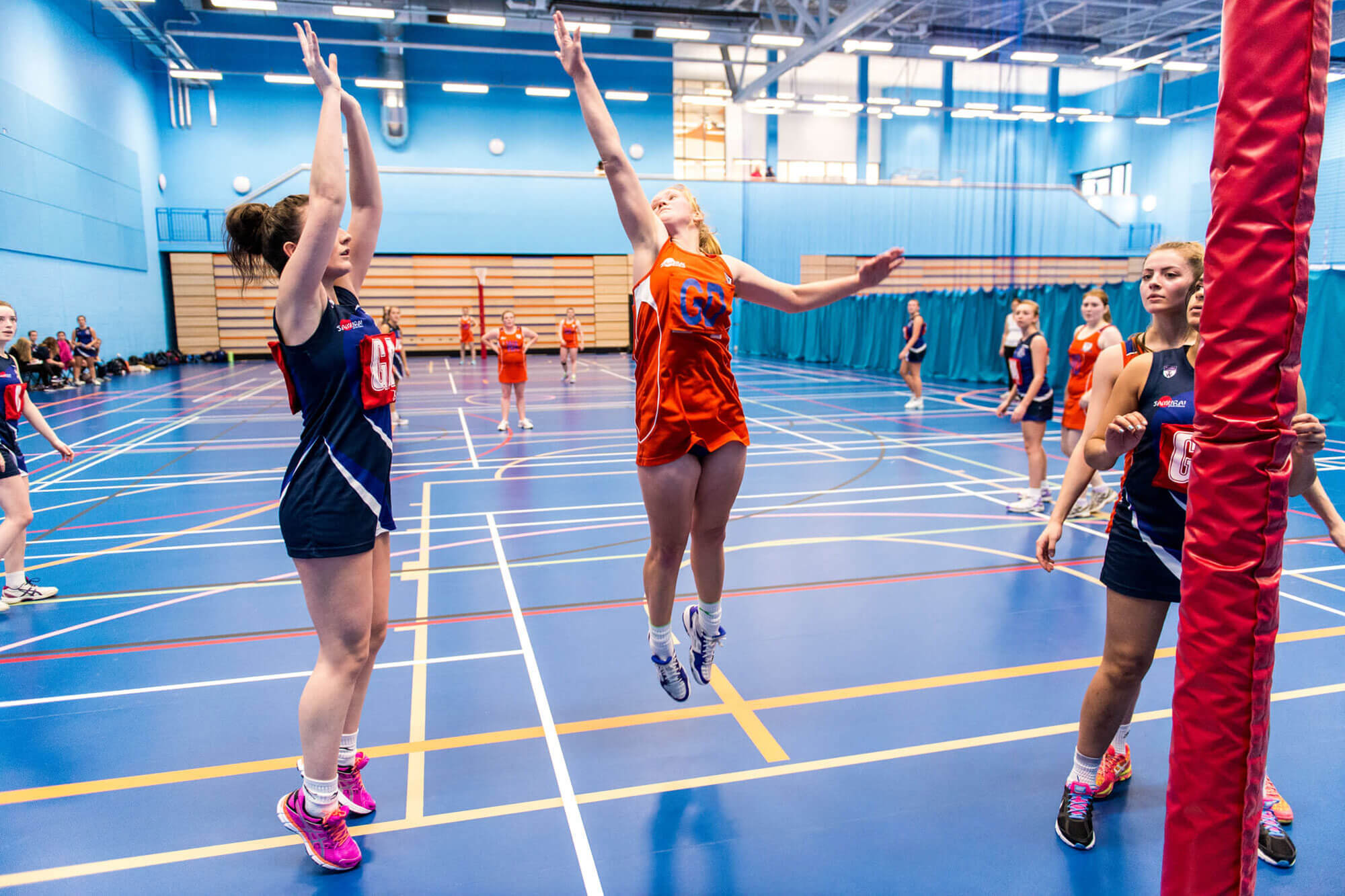 Womens Netball 2nd Team, playing in the Sports Centre at the University of Derby.