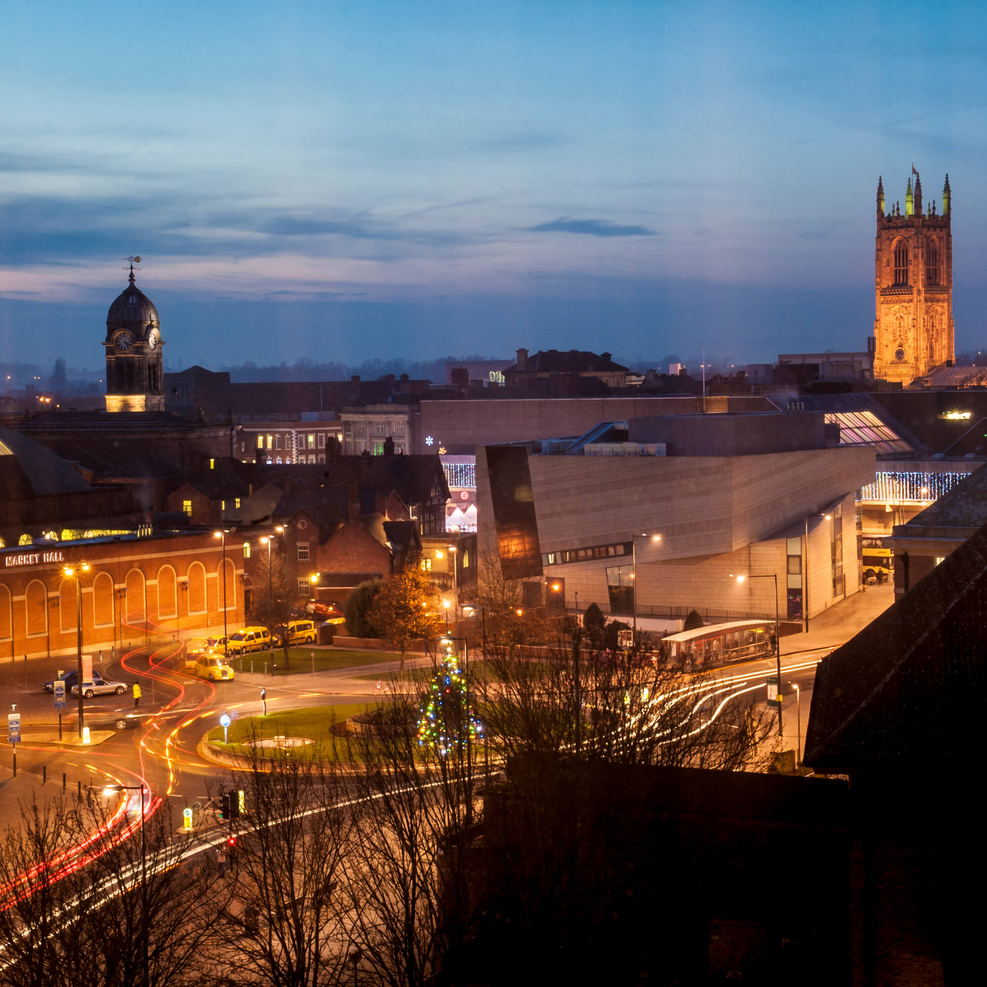 Derby city centre at night