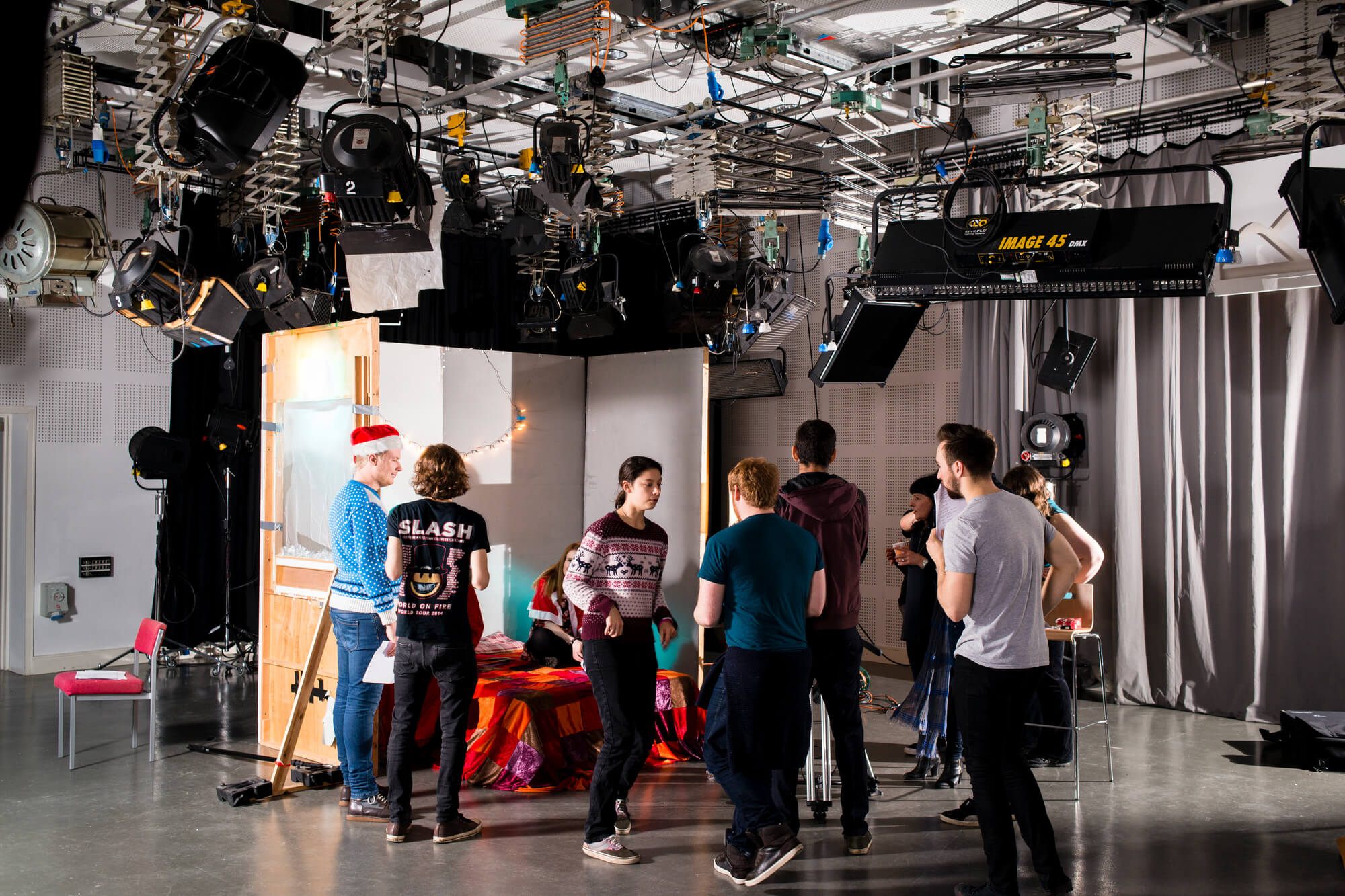 Students working in the film and television studios at Markeaton Street.