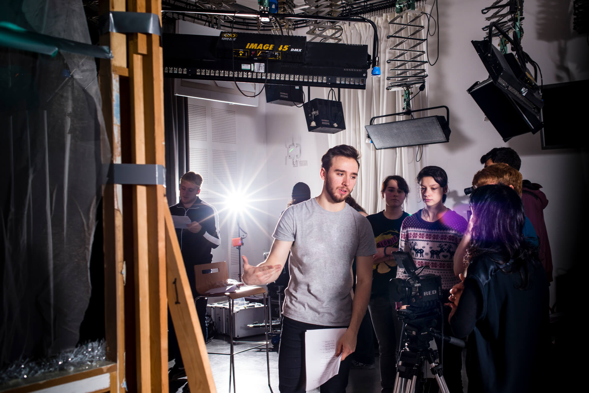 Students in the film and television studio at Markeaton Street