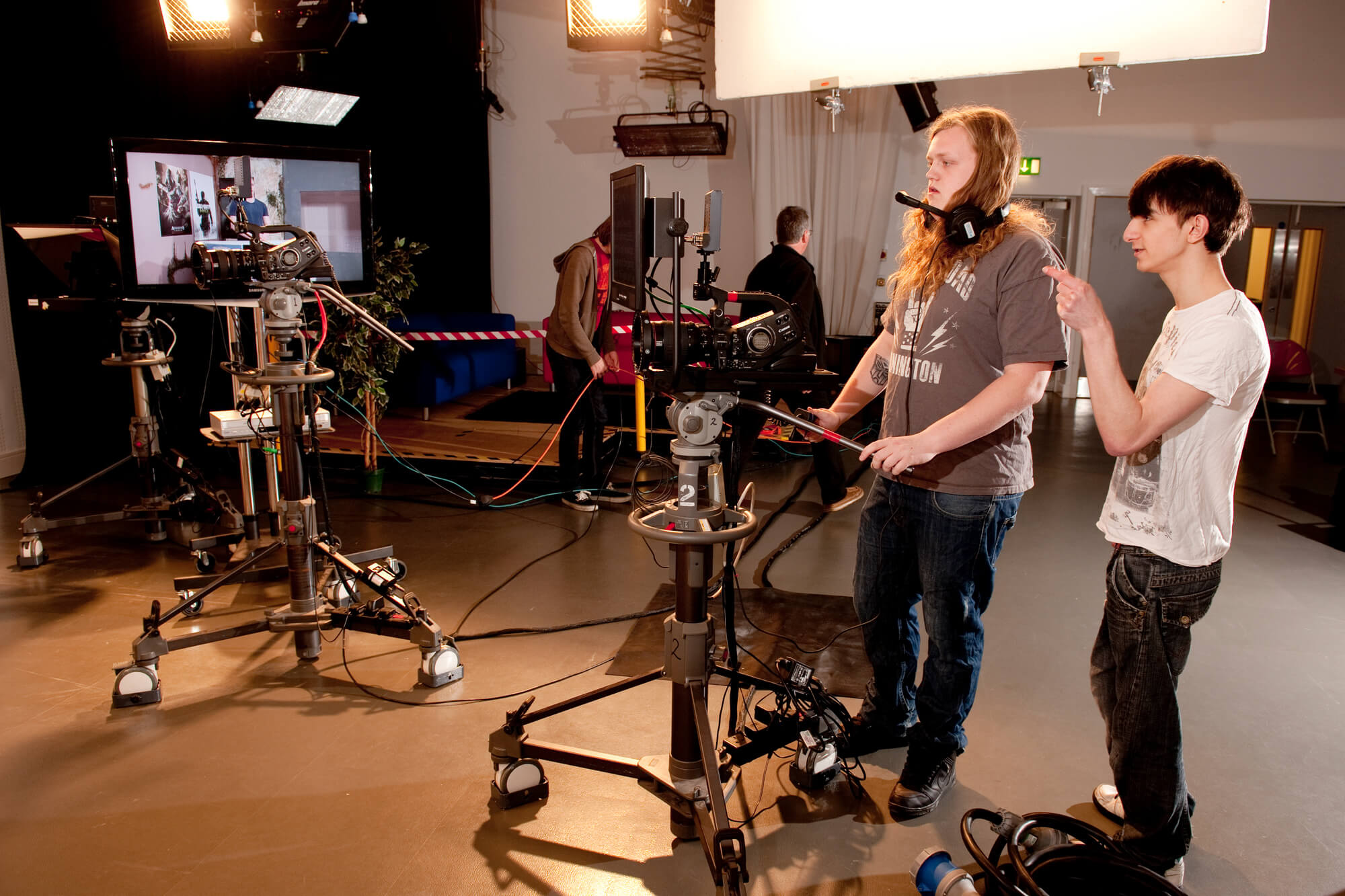 Students in the film and television studio on the Markeaton Street site.