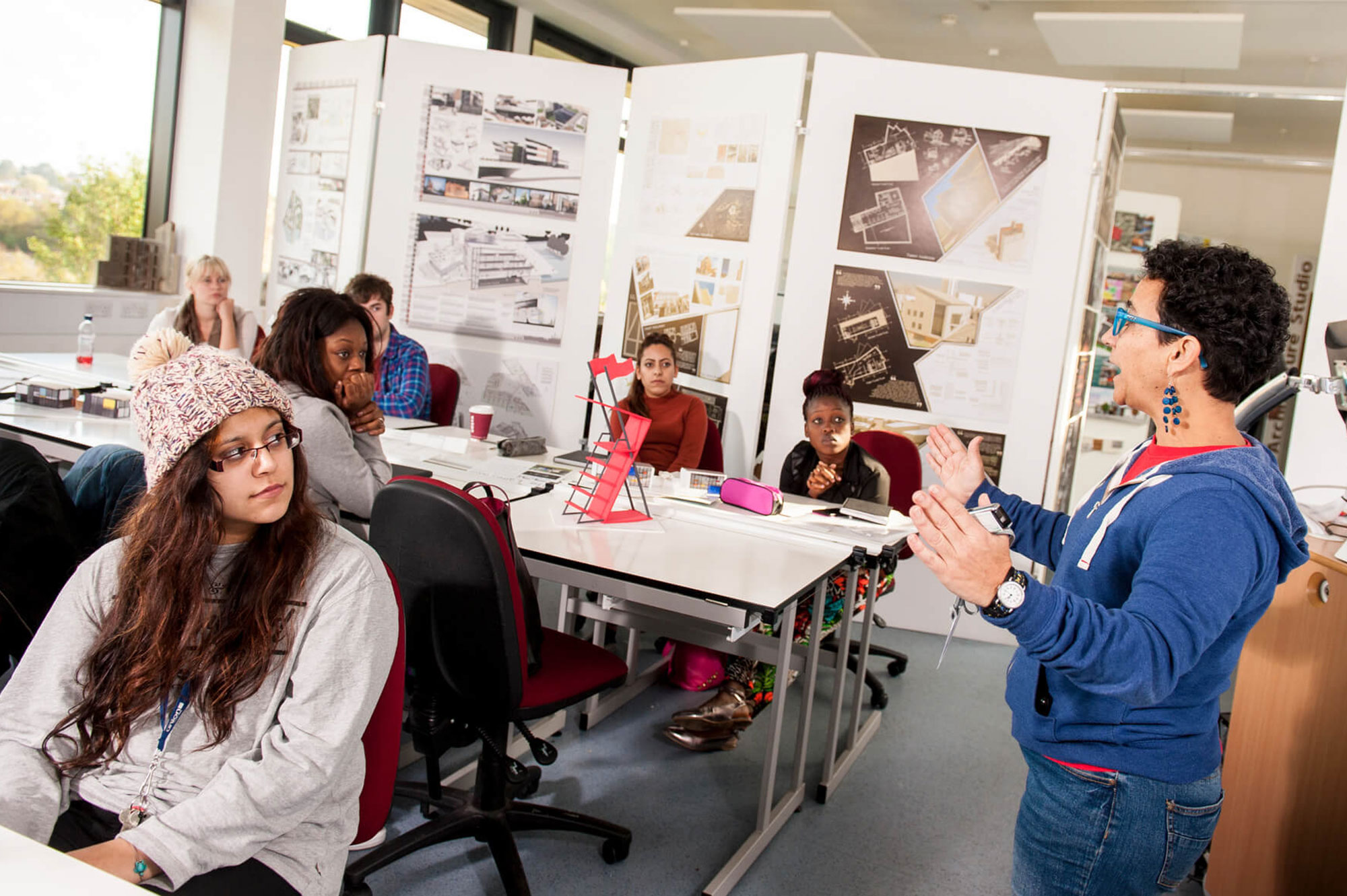 Architecture students have a lecture at Markeaton Street