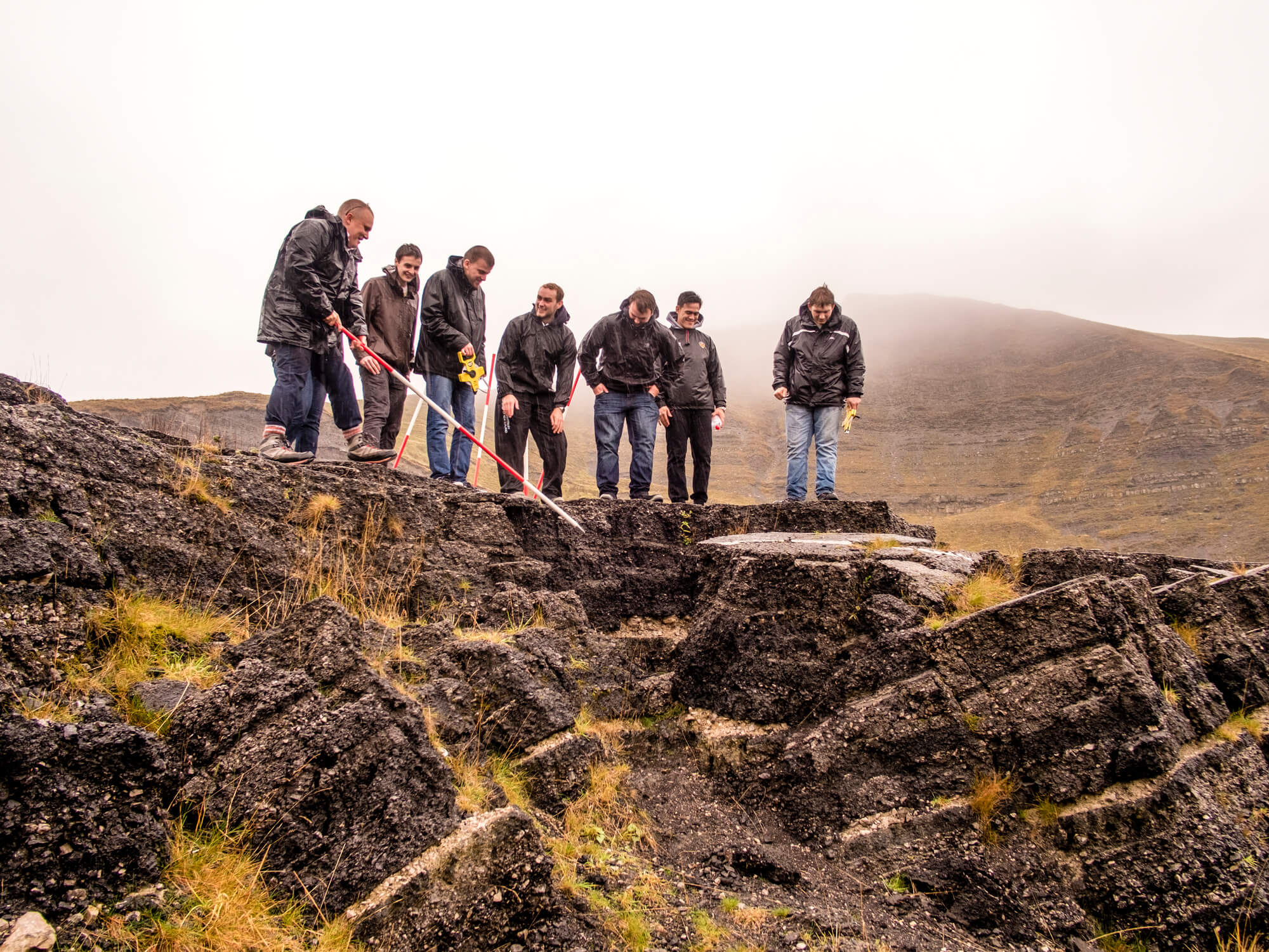 Civil Engineering students on a field trip at Mam Tor