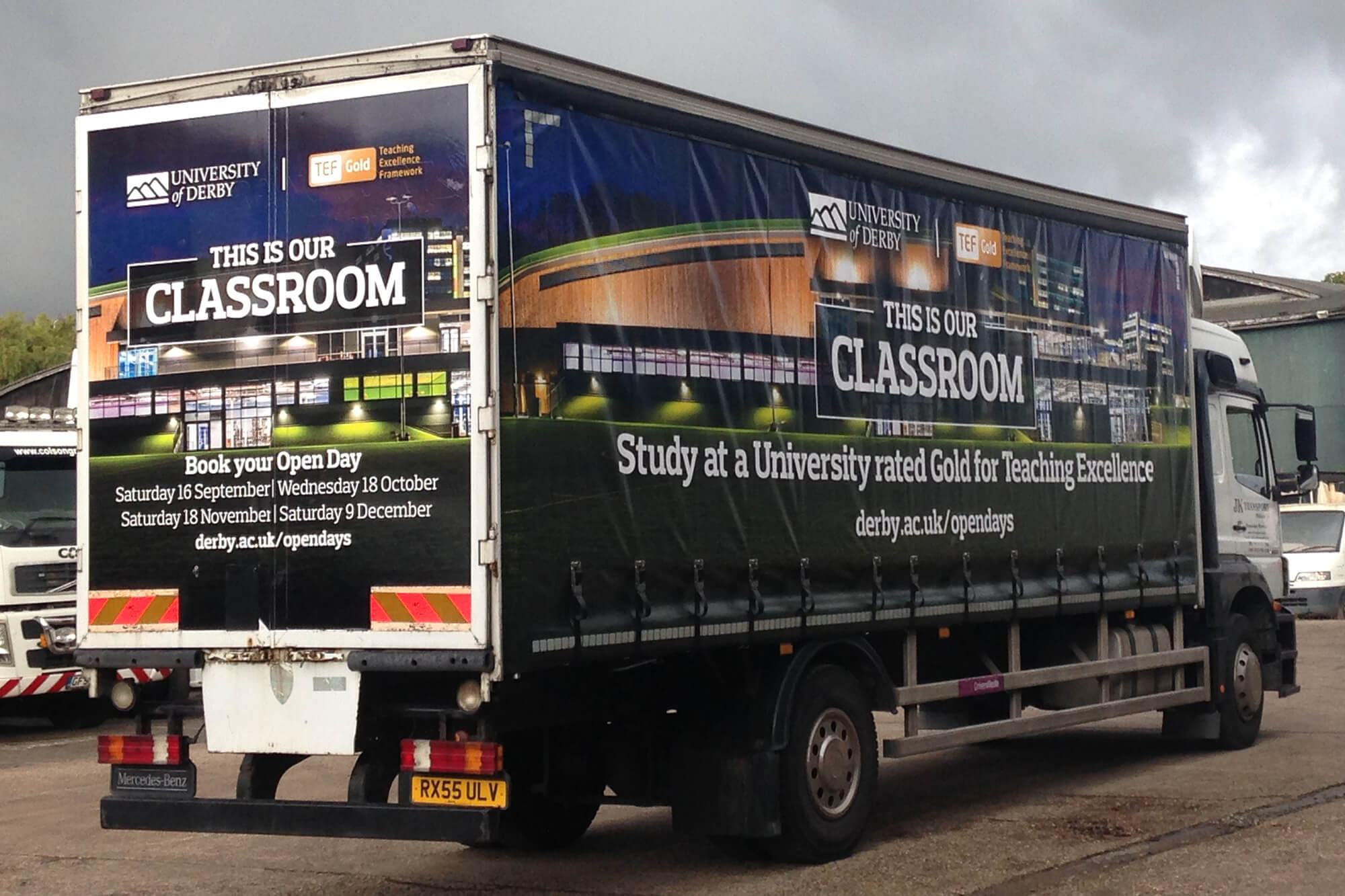 A DrivenMedia truck advertising the University of Derby